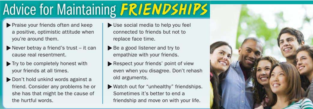 Advice for Maintaining FRIENDSHIPS → Praise your friends often and keep a positive, optimistic attitude