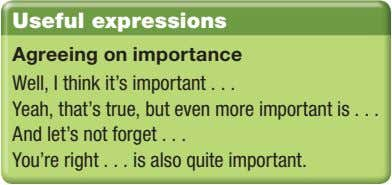 Useful expressions Agreeing on importance Well, I think it's important Yeah, that's true, but even