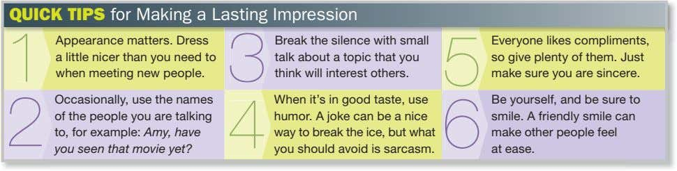 QUICK TIPS for Making a Lasting Impression 1 Appearance matters. Dress 3 Break the silence