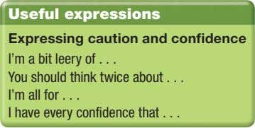 Useful expressions Expressing caution and confidence I'm a bit leery of You should think twice