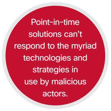 Point-in-time solutions can't respond to the myriad technologies and strategies in use by malicious actors.