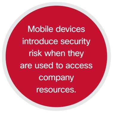 Mobile devices introduce security risk when they are used to access company resources.