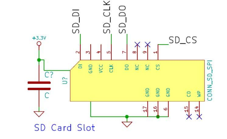 with microcontroller.SD card operates on 3.3V supply. SD card will be using a FAT32 file system