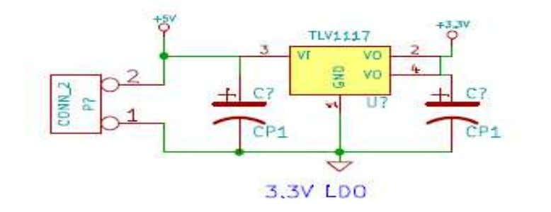 LM1117 for 3.3V  Current sourcing- Maximum 800mA at 3.3V Fig3.5.2. 3.3V power supply Bharati Vidyapeeth's