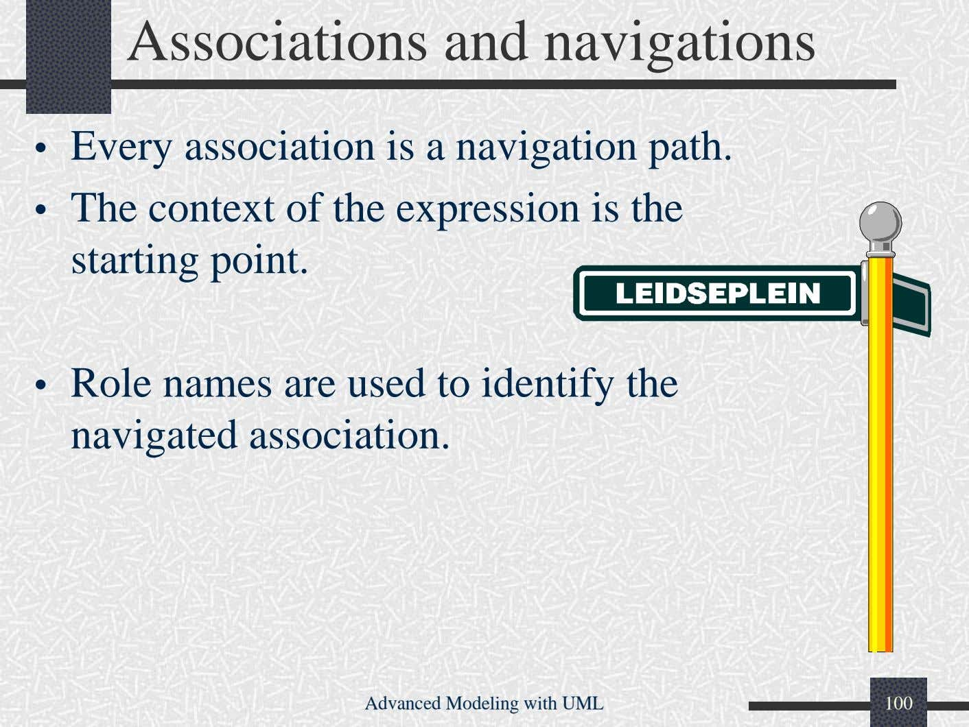 Associations and navigations • Every association is a navigation path. • The context of the