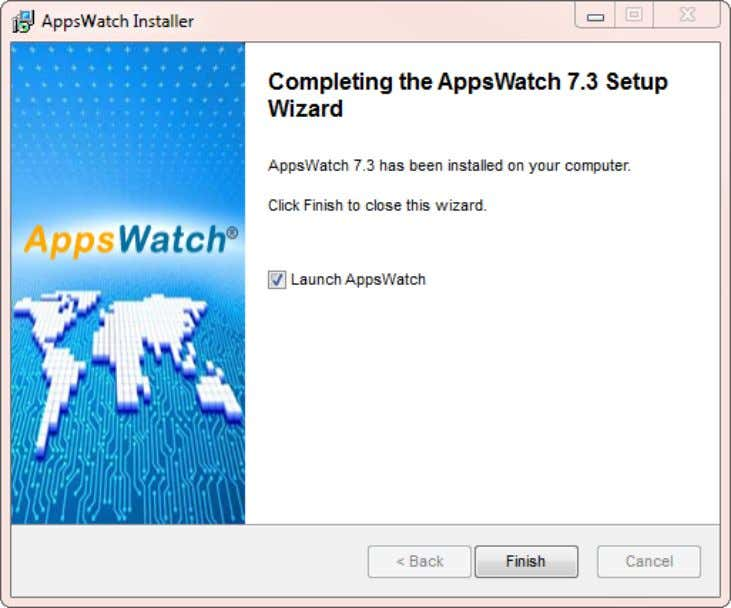 "User Guide: AppsWatch Click ""Finish"" to complete the AppsWatch installation. © 2012 NRG Global. All rights"