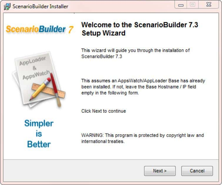 "Run the setup.exe file in the ScenarioBuilder folder. Click ""Next"" to advance to the ""End User"