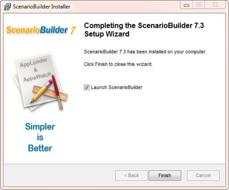 "User Guide: AppsWatch Click ""Finish"" to complete the ScenarioBuilder installation. © 2012 NRG Global. All rights"