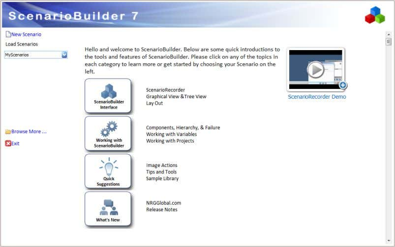 "application. 1. Open ScenarioBuilder and click ""New Scenario"" . © 2012 NRG Global. All rights reserved."
