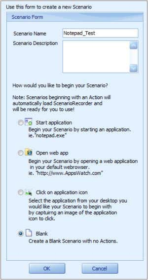 "like to begin your Scenario"" section; click ""OK"". 3. Double click on Begin Transaction (under Application)"