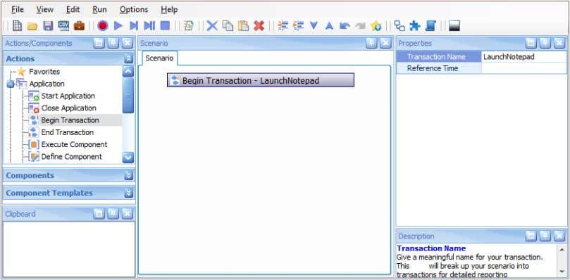 right Properties pane, enter the Transaction name: LaunchNotepad . © 2012 NRG Global. All rights reserved.