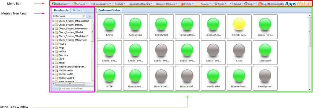 Name and Password); The AppsWatch Base opens to the default view; © 2012 NRG Global. All