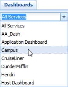 In the drop-down box, select the Dashboard you wish to view; The selected Dashboard will populate