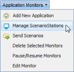 "Monitors"" menu, click "" Manage ScenarioStations""; The ""ScenarioStations"" page opens in a new tab; MANAGE"