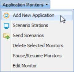 "Monitors"" menu, select ""Add New Application""; The ""New Application"" page opens in a new tab; Group"