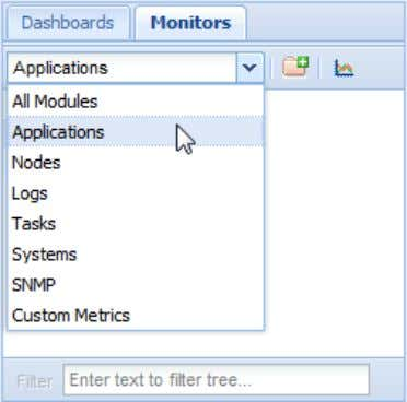 "tab of the ""Metrics Tree"" pane, select ""Applications; The ""Metrics Tree"" pane displays all available"
