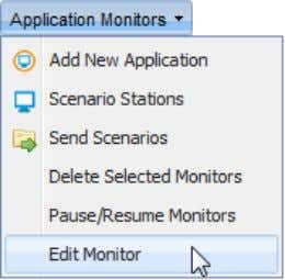 "Monitor"" from the ""Application Monitors"" menu; The Monitor's ""Properties"" page opens in a new tab."
