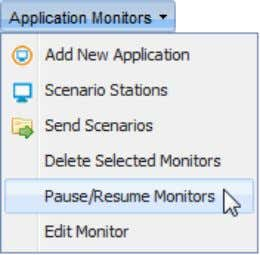 "Monitors "" from the ""Application Monitors"" menu; ""Success"" window pops up; Click ""OK""; Paused"