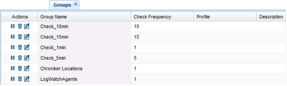including their Check Frequency, Profile and Description; Sort and manage columns by clicking the arrow next