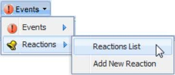 "From the ""Events"" menu, select ""Reactions List""; The ""Reactions"" page opens in a new tab; Search"