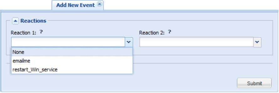 and Reaction#2 drop lists on the Event form; All Reactions that © 2012 NRG Global. All