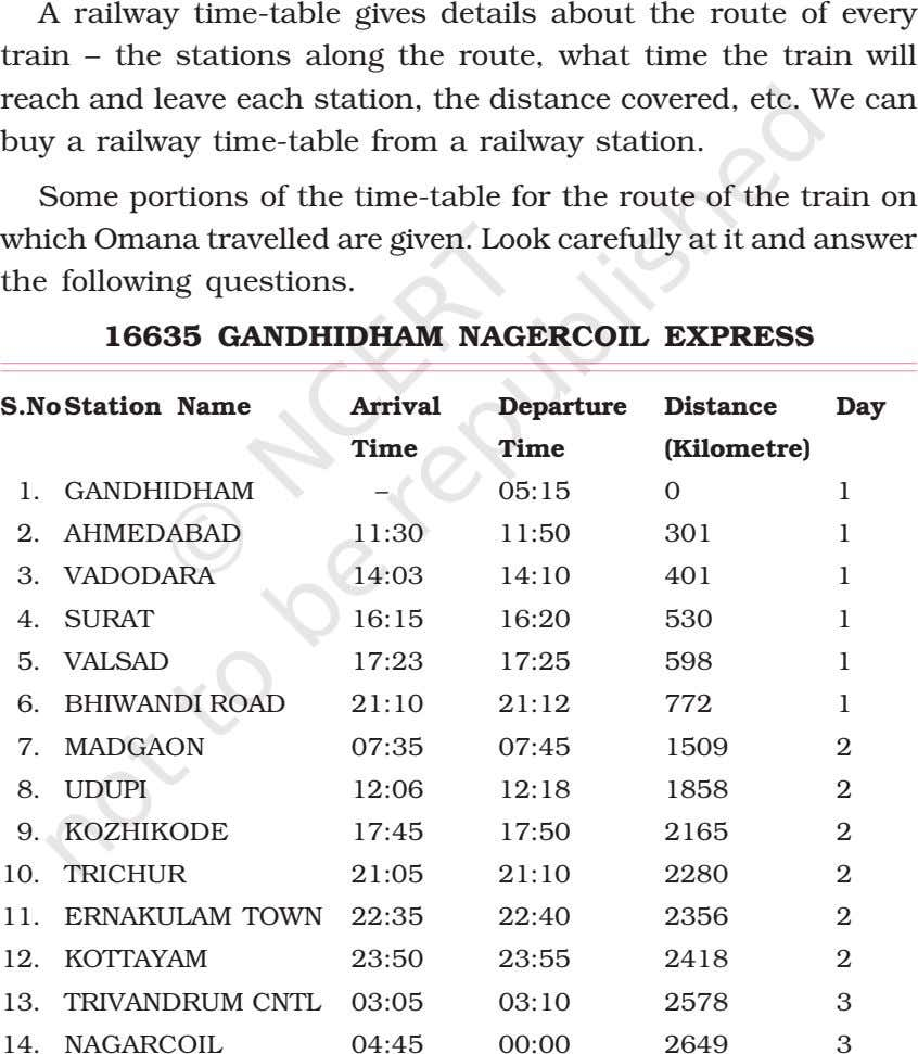 A railway time-table gives details about the route of every train – the stations along