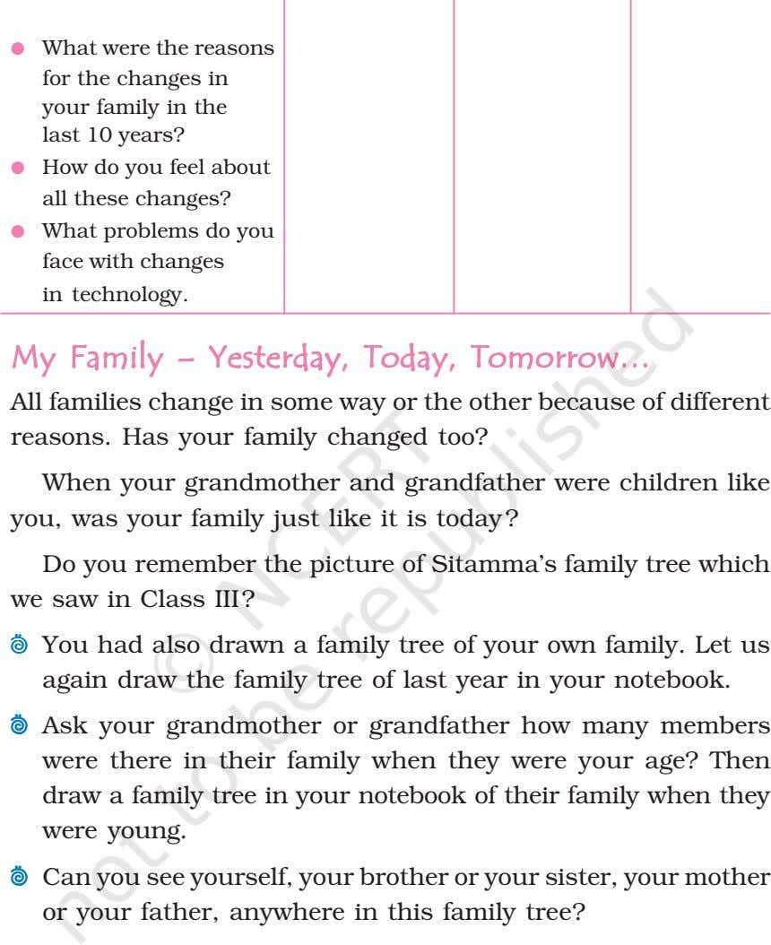 ● What were the reasons for the changes in your family in the last 10