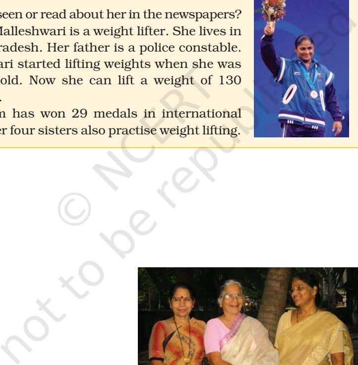 events. Her four sisters also practise weight lifting.