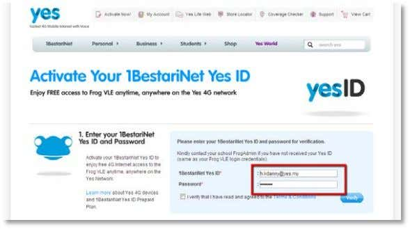Yes ID and password into the verification box. If you accept the Terms and Conditions tick