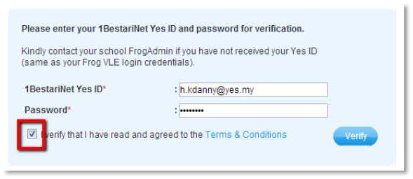 into the verification box. If you accept the Terms and Conditions tick the checkbox . Click