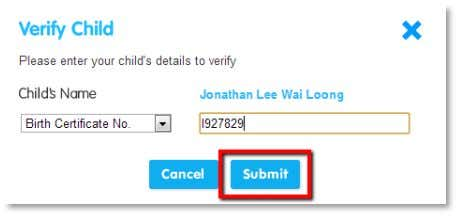 Click the blue Submit button. A confirmation message will appear informing you that your child has