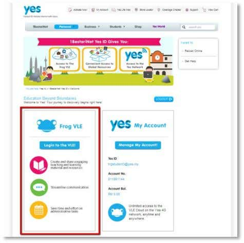 access your Frog VLE scroll down to the Frog VLE section. Click on the blue Login