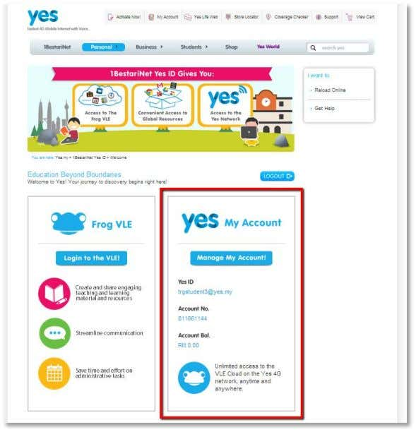 your Yes Account from the 1BestariNet Portal To access your Yes account, scroll down to the