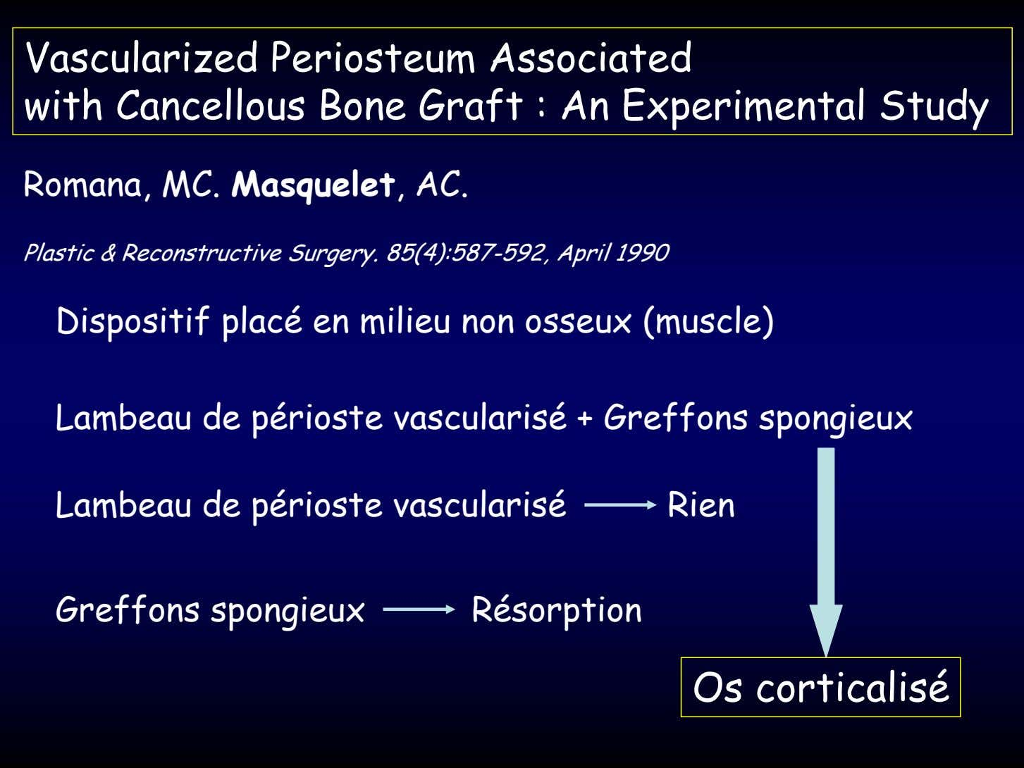 Vascularized Periosteum Associated with Cancellous Bone Graft : An Experimental Study Romana, MC. Masquelet, AC.