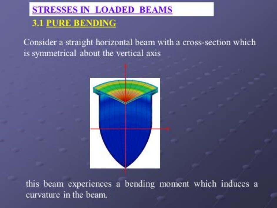 Chapter 3 STRESSES IN LOADED BEAMS 3.1 PURE BENDING 3.1
