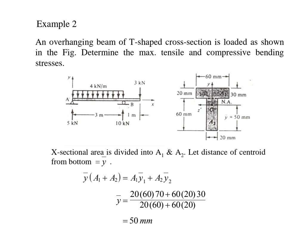 Example 2 Example 2 An overhanging beam of T -shaped cross-section is loaded as shown