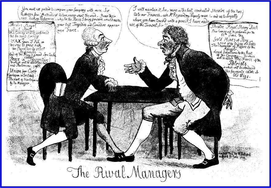caricature, cultural politics, and the stage 623 figure 6. The Rival Managers (1799; W. Holland). Hand-colored