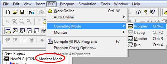 1 If the operating mode of PLC is