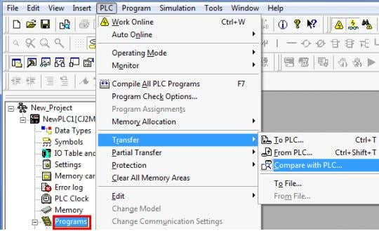 5 Select Programs in the project workspace. Select Transfer - Compare with PLC from the PLC