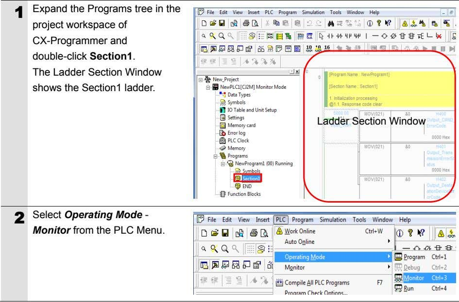 1 Expand the Programs tree in the project workspace of CX-Programmer and double-click Section1. The