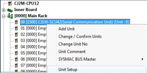 and select Unit Setup from the menu that is displayed. (2) On the CJ1W-SCU42 [View Parameters]
