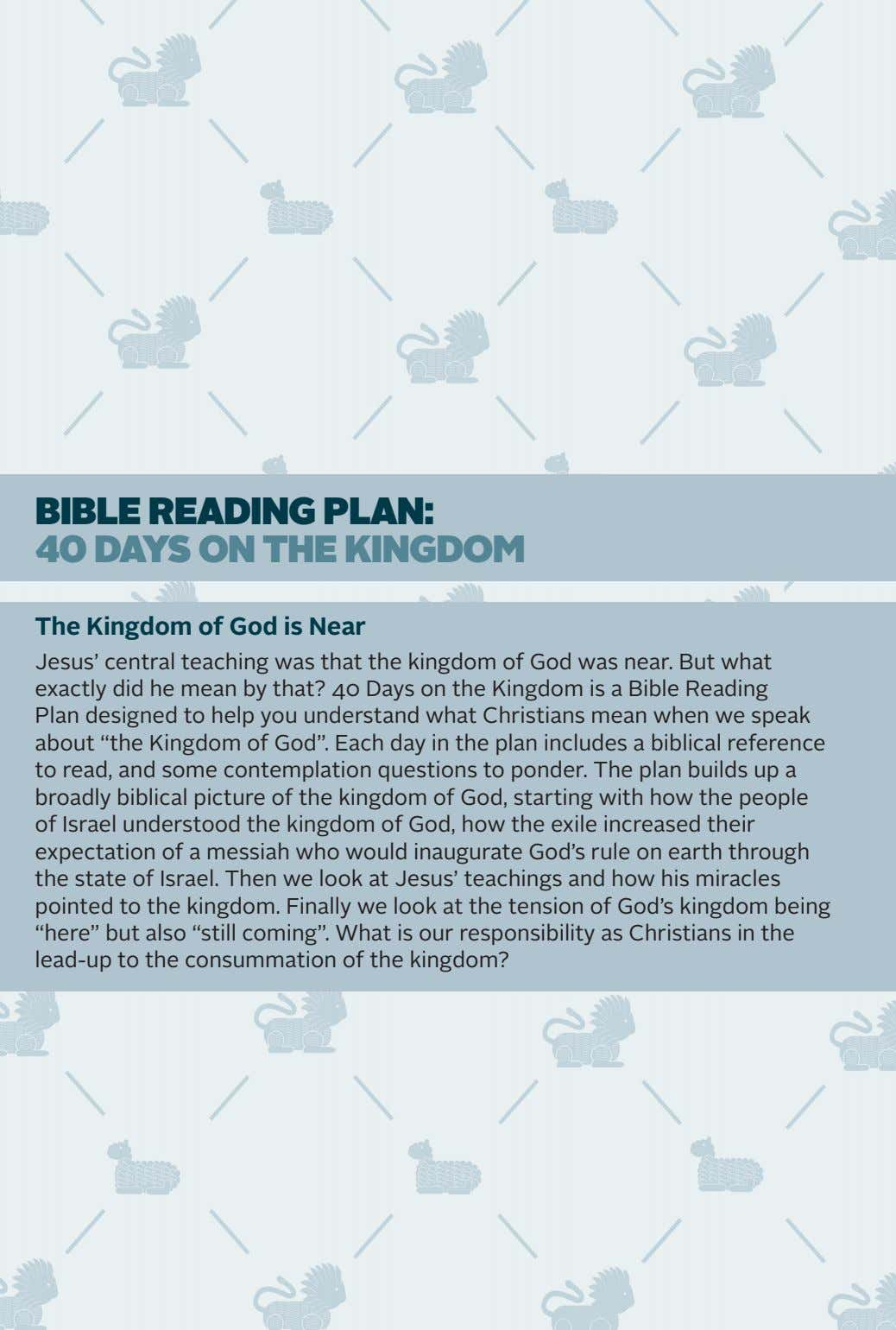 BiBle Reading Plan: 40 days on the kingdom The Kingdom of God is Near Jesus'