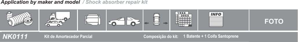 Application by maker and model / Shock absorber repair kit FOTO NK0111 Kit de Amortecedor