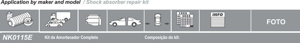 Application by maker and model / Shock absorber repair kit FOTO NK0115E Kit de Amortecedor