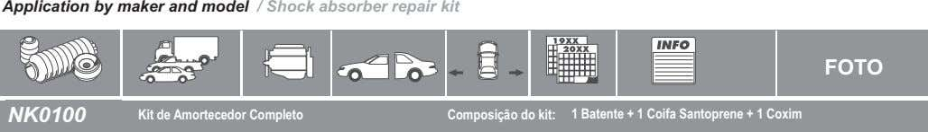Application by maker and model / Shock absorber repair kit FOTO NK0100 Kit de Amortecedor