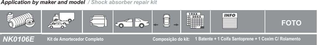 Application by maker and model / Shock absorber repair kit FOTO NK0106E Kit de Amortecedor