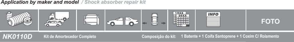 Application by maker and model / Shock absorber repair kit FOTO NK0110D Kit de Amortecedor