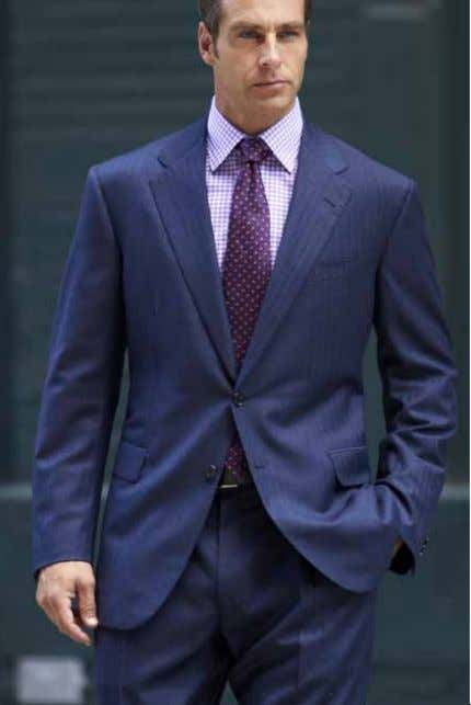 Navy Blue Herringbone Suit, Super 130's Fine Cotton Dress Shirt, Lilac Tattersall, Button Cuff 100%