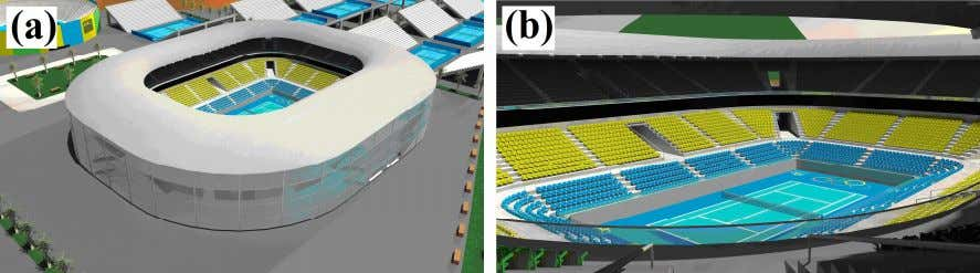 (A) The Orthographic View of the Architectural Model of the Stadium, and (B) View of Grandstands