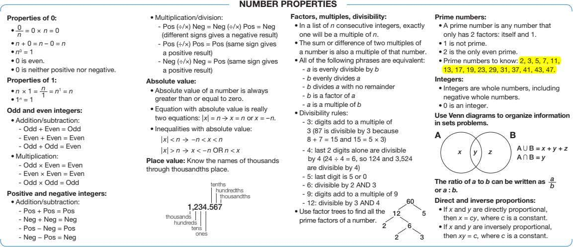 NUMBER PROPERTIES Properties of 0: • Multiplication/division: Factors, multiples, divisibility: Prime numbers: -